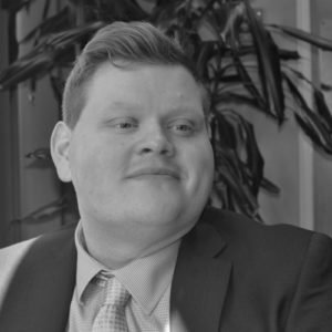 Black and white photo of Tim Wilton