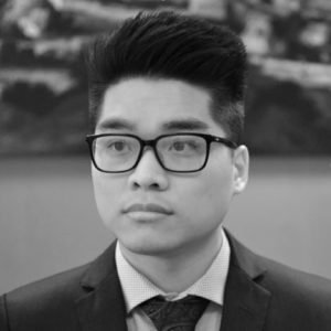 Black and white photo of Alex Yuen Tay